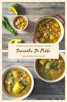 Sancocho De Pollo (Puerto Rican Chicken Stew) - - In Puerto Rico, one is said to be 'sancochao' when you're all hot, burnt and sweaty after a day of stewing in the sun. That sentiment explains the concept of. Puerto Rican Chicken Stew, Puerto Rican Dishes, Puerto Rican Recipes, Cuban Recipes, Fish Recipes, Beef Recipes, Chicken Recipes, Cooking Recipes, Soup Recipes