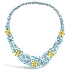 A dazzling evening necklace in blue topaz with five striking citrine, lemon quartz, peridot and diamond flowers