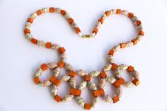 Orange effect  paper bead necklace by MagdaCrafts on Etsy