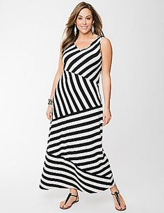 Gorgeous maxi dress makes an eye-catching entrance with spliced stripes to flatter in all the right places. Tank style knit dress offers lightweight comfort in an easy-going knit - just right for any season! Sassy V-neck and wide straps complete the look. lanebryant.com