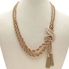 Rose Gold & Diamond Dual Strand & Tassel Retro Necklace | From a unique collection of vintage multi-strand necklaces at http://www.1stdibs.com/jewelry/necklaces/multi-strand-necklaces/