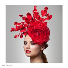 Kate is a red headpiece made of a big silk rose, antique Japanese Velvet leafs and a red French veil.