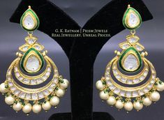 Diamond Polki | Vilandi | Polki | Uncut diamonds | Old cut diamonds | Traditional | Indian | Bridal | Wedding | Kundan Meena | Jadau | Jadtar | Hallmarked | Gold | Enamel | Jewelry | Jewellery | Earrings | Chandelier | Karnfool | Tops | Studs | Chand Bali | Chand Bala