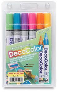 Hot Colors Set of 6, Broad Tip