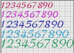 numeri punto croce schemi - Cerca con Google