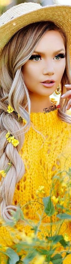 Stephanie Danielle  #StephanieDanielle  #teatosh Yellow Fashion, Gold Fashion, Colorful Fashion, Love And Light, Peace And Love, Seasons Poem, Yellow Springs, Girls With Flowers, Isnt She Lovely