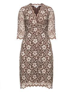 Kiyonna Three-quarter length sleeve dress in Brown / Beige