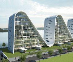 Волны в Вайле, Дания с Хеннинг Ларсен архитекторов