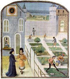 A farming scene from a 15th century Flemish copy of a 14th century Italian manuscript Treatise on Rural Economy by Pietro de Crezcenzi.