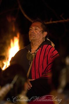 """""""Emissaries of Peace"""" :Cherokee man Ostenaco gives a speech on the street at night in 18th Century Williamsburg."""