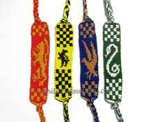 Items similar to House Banner Friendship Bracelet on Etsy Harry Potter House Colors, Harry Potter Houses, Hogwarts Houses, Cute Crafts, Yarn Crafts, Harry Potter Accessories, Slytherin And Hufflepuff, Mischief Managed, Geek Girls