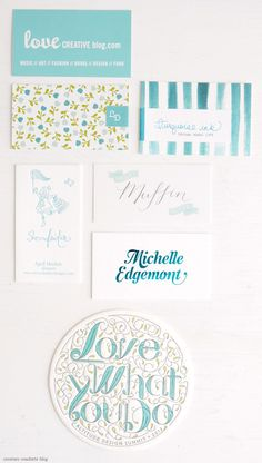 turquoise business cards