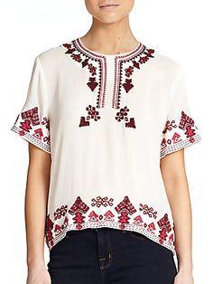 Elle Sasson Rey Embroidered Silk Top