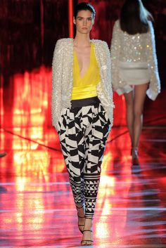 Alexandre Vauthier | Fall 2014 Couture | 13 White embellished jacket, yellow sheer top and monochrome printed cropped trousers