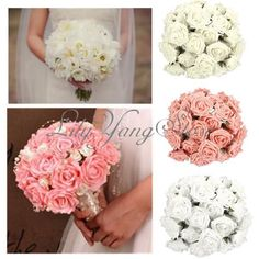 50x Colourfast Foam Rose Artificial Flower Craft Wedding Bouquet Party Decor 7cm #New