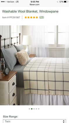 Window Pane washable wool blanket for boys  beds. LOVE THIS! Via  LLBean 3f6a12e03