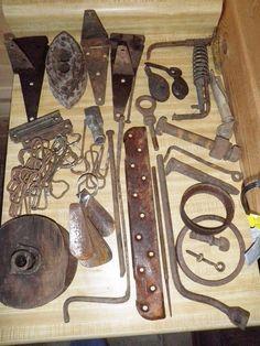 Vintage Rusty Rustic Farm Barn Junk Lot  Hinges Bolts Repurpose Restoration