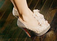 Sparkles and flowers.  these are awesome heels