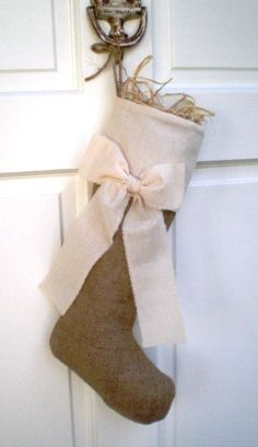 Burlap and bow stocking