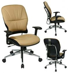 Leather Office Chairs: Taupe Leather Managers Office Chair with Polished Aluminum Base - 32-88P918P@$294.99