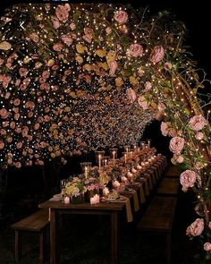 A night table setting with a floral canopy