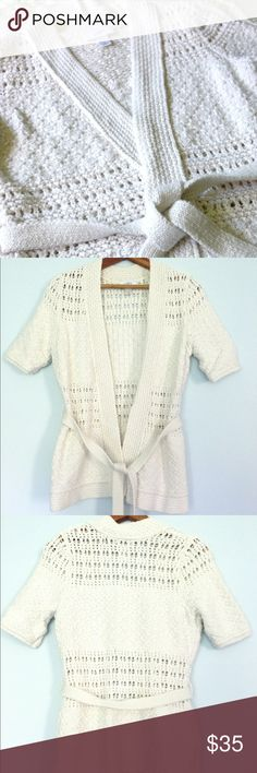 🆕 LOFT cream belted wrap cardigan Lovely creamy white knit belted sweater cardigan by LOFT! In gorgeous condition, short sleeved, comes with knit tie belt. Size small LOFT Sweaters Cardigans