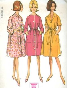 Vintage 1960's McCall's 7554 Sewing Pattern Women's House Robes size Small ExC #VintageSewingPatterns #Retro