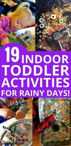 Indoor Toddler Activities: Stay sane and keep your toddler busy with these rainy day activities for toddlers! Rainy days can be hard for small kids. Let them have fun while cooped up inside with these 19 fun indoor toddler activities for rainy days! Rainy Day Activities For Kids, Indoor Activities For Toddlers, Quiet Time Activities, Rainy Day Fun, Infant Activities, Summer Activities, Rainy Days, Preschool Activities, Educational Activities