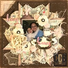Hi! Connie Hall here to share how I created a Faux Quilted Scrapbook Page. I also wanted to incorporate something I don't usually so Ii decided tog o for a stitched layout - it's just a frame that I hand stitched but it adds a completely new feel. I had a 4x4 picture of my youngest daughter giving me a warm hug during