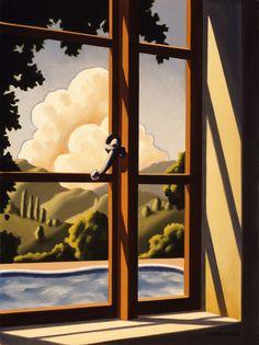 """Kenton Nelson """"Window in a Guest Room"""" oil on panel"""