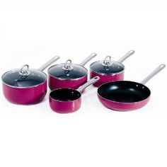 Viners Pretty in Pink 5 piece cookware set from Viners range of kitchenware products. Viners has put together this wonderful 5 piece cookware set Kitchen Dishes, Kitchen Items, Kitchen Aide, Kitchen Stuff, Kitchen Tools, Hot Pink Kitchen, Pots And Pans Sets, Kitchen Magic, Kitchen Must Haves