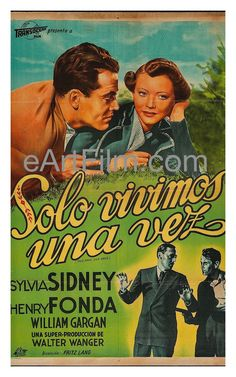 This poster is for rerelease of the classic 1937 Fritz Lang crime film, starring Sylvia Sidney, Henry Fonda, Barton MacLane, Jean Dixon, Charles (Chic) Sale, Guinn (Big Boy) Williams, Margaret Hamilto