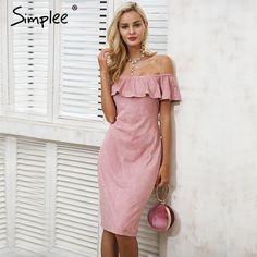 88e680497ce Simplee Сексуальная с плеча рюшами зимнее платье женские замшевые  повседневные розовые Midi Bodycon платье осень элегантное
