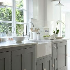 Image result for white and greycountry kitchen interior