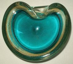 INCREDIBLY Gorgeous MURANO Glass BOWL Gold TEAL Uranium RIM Glows in BLACKLIGHT