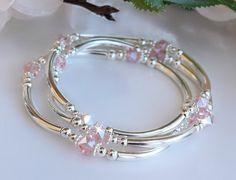 Crystal Bracelets Silver Bangles Stretchy Set of Three image 0 Swarovski Bracelet, Silver Bangle Bracelets, Crystal Bracelets, Crystal Jewelry, Sterling Silver Necklaces, Beaded Jewelry, Jewelry Bracelets, Silver Earrings, Jewellery