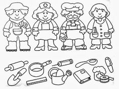 Crafts,Actvities and Worksheets for Preschool,Toddler and Kindergarten.Lots of worksheets and coloring pages. Grade R Worksheets, Preschool Learning, Kindergarten Worksheets, Community Helpers Kindergarten, Community Helpers Worksheets, Community Jobs, Teaching Emotions, Coloring Pages For Kids, Crafts For Kids