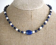 Lapis and pearl necklace / lapis lazuli / by RedYuccaDesigns, $63.00