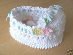 OOak Crochet Bassinet six and a half inches Pastel Crochet Flowers by ginaska