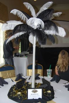 Good balance of black and white.  gatsby centerpieces - Google Search