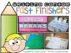 Great ideas for writing fast finishers!  Lots of open-ended choices that make writing fun and keep students engaged.  Writing center fast finishers are the perfect solution to your writing center needs!