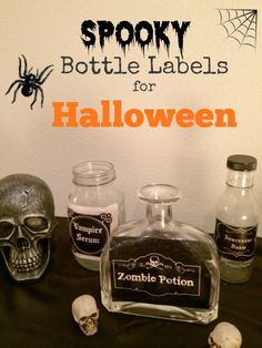 Spooky Bottle Labels free printable - from Organized Island