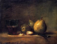 Jean Baptiste Simeon Chardin-xx-Three Pears Walnuts Glass of Wine and Knife-xx-Louvre