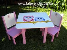Painting Kids Furniture, Funky Furniture, Painting For Kids, Diy Painting, Painted Furniture, Kid Table, Creative Kids, Table And Chairs, Diy For Kids