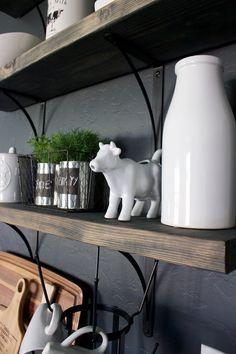 Kitchen Open Shelving with Farmhouse Decor