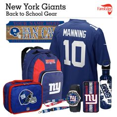 New York Giants Fans - Pin It to Win It All! You can win a complete back to school NFL prize pack worth over 300 dollars! To enter, pin your favorite NFL Team's Back to School image to win every item in the collage! #FansEdge –Visit http://www.fansedge.com/promotions.aspx?social=pinterest_nfl_pintowin to enter