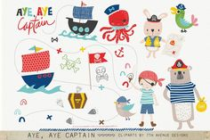 Aye, Aye Captain Cliparts by 7th Avenue Designs on @creativemarket
