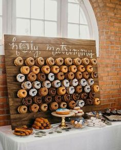 26 Inspiring Chic Wedding Food & Dessert Table Display Ideas okay but how cute and cheesy is this. We can even get them from lickin good donuts Chic Wedding, Dream Wedding, Wedding Day, Trendy Wedding, Table Wedding, Wedding Things, Wedding Foods, Bar Wedding Ideas, Wedding Rustic