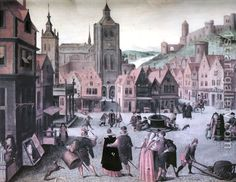 The Marketplace in Bergen op Zoom Abel Grimmer | Oil Painting Reproduction | 1st-Art-Gallery.com