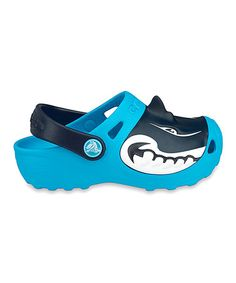 Look at this #zulilyfind! Electric Blue Shark Clog - Kids by Crocs #zulilyfinds